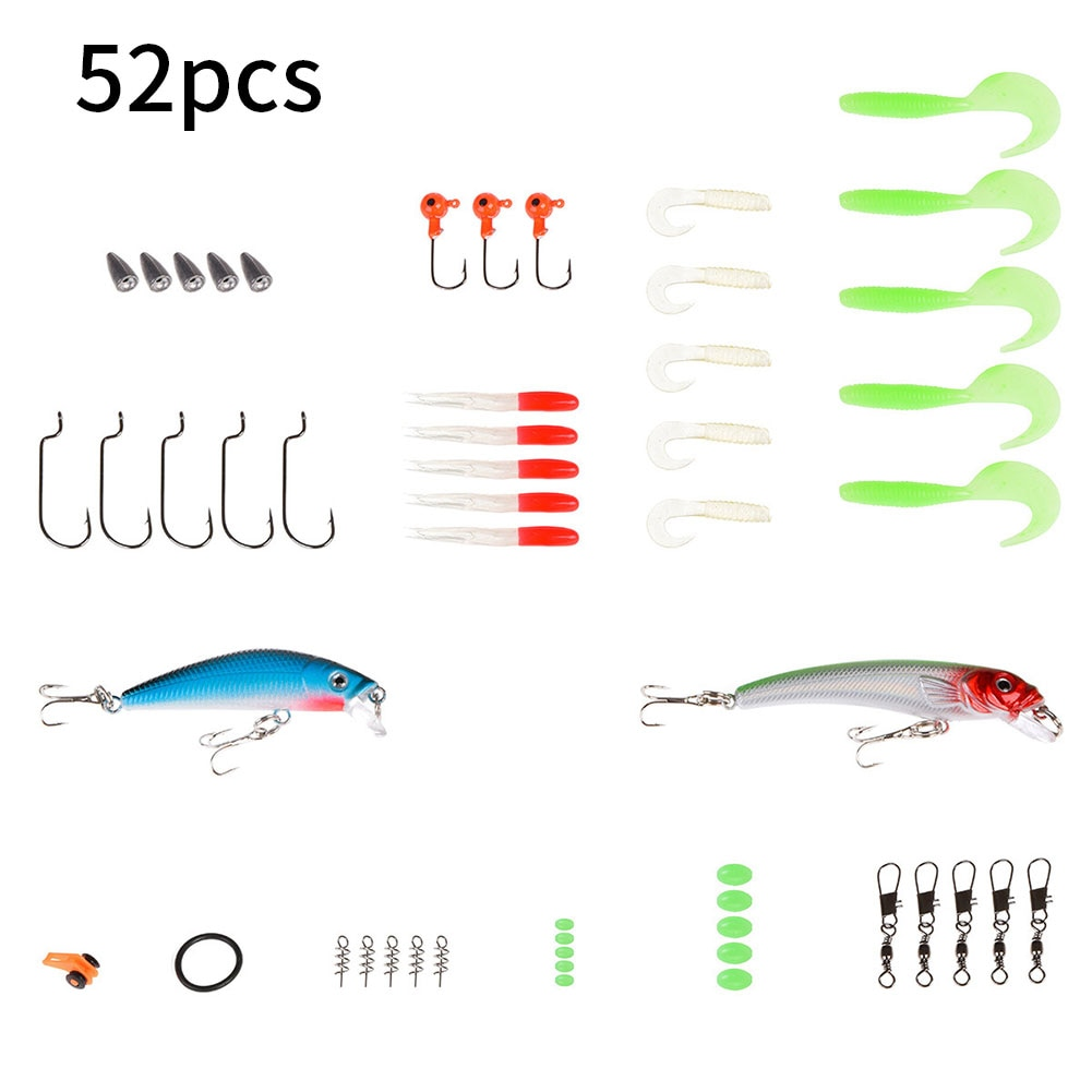 52 Pcs Soft Mixed Colors Fishing Lure Set Silicone Baits With Lead Jig Head Fishhook Offset Hooks Worm Carp Fishing Tackle Kit