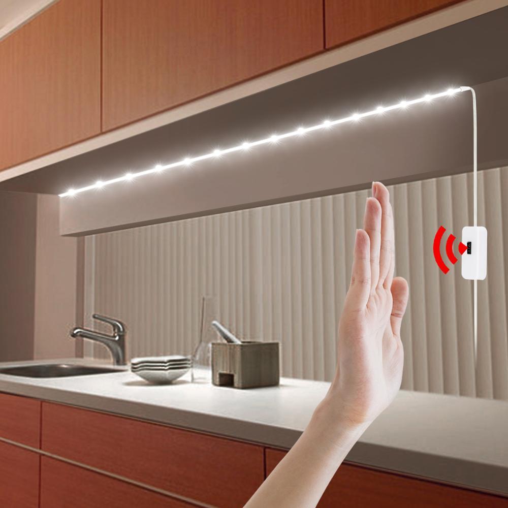 USB 5V יד לטאטא מתג מטבח אור 1/2/3/4/5M עמיד למים LED רצועת קלטת תחת קבינט אור Luces Led סרטי ארון מנורה