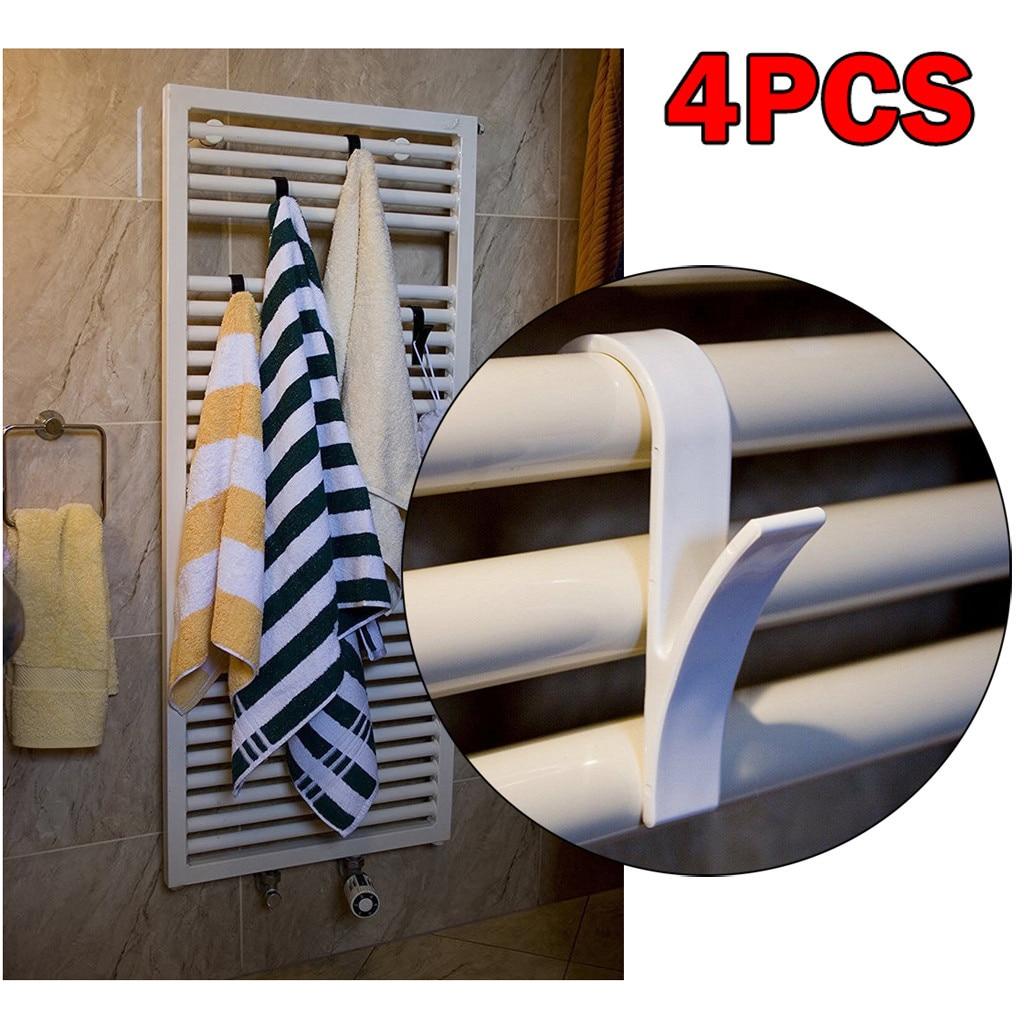 4pcs High Quality Hook Hanger For Heated Towel Radiator Rail Bath Hook Holder Navidad Home Bath towel hook Bathroom Accessories