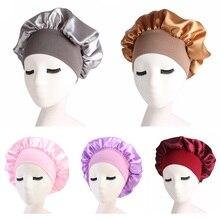 Women's Satin Solid Wide-brimmed Sleeping Hat Night Sleep Cap Hair Care Bonnet Nightcap For Lady Wom