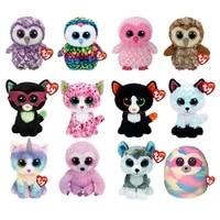 15cm ty beanie big shiny eyes owl fox cat unicorn sloth husky pillow doll soft plush stuffed animal best toy child birthday gift