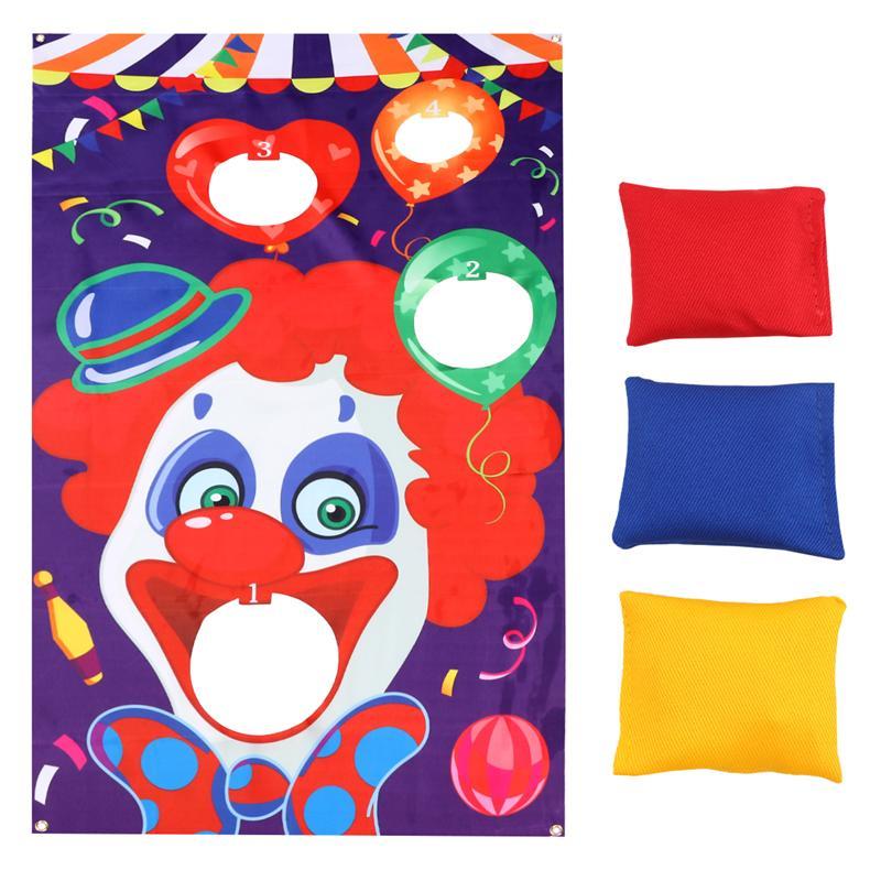 Bolsa de arena para payaso de Halloween, banderas de juego, banderas colgantes, divertidos accesorios de circo para juegos al aire libre con 3 uds, bolsa de arena de Color aleatorio