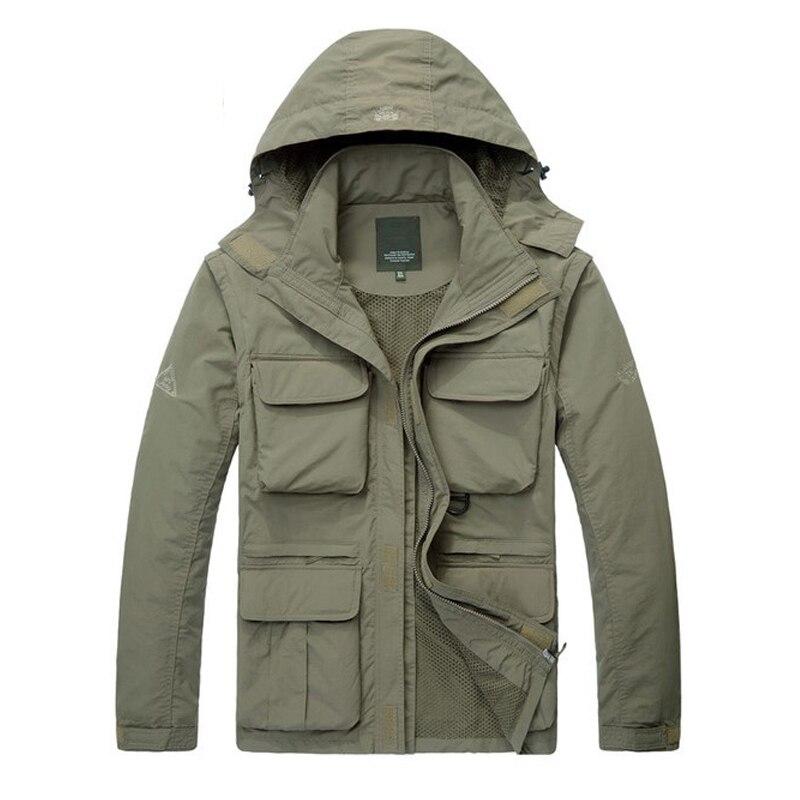 Automne veste hommes militaire décontracté à capuche col maille doublure chapeau et manches amovible été veste hommes beaucoup de poches M-4XL manteau hommes