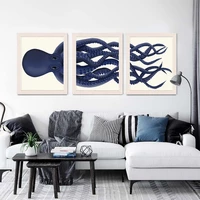 giant octopus wall art print cartoon animal decor picture blue octopus poster nautical decor wall for living room modern decor