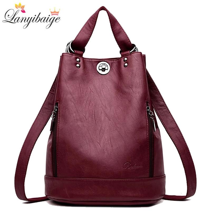 2021 New Women Backpack High Quality Leather Backpacks School Bags for Teenage Girls Brand Luxury Shoulder Bag Bagpack Mochila