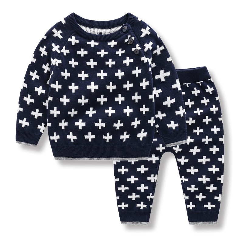 Autumn Winter Baby Boys Clothes Sets Casual Cotton Infant Toddler Outfits Tops Trousers Suits Knit Sweater Neonate Pullovers