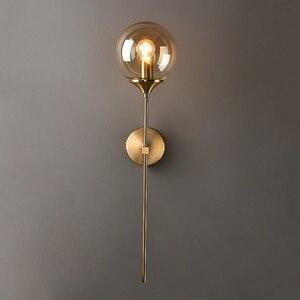 Modern Glass Wall Lamp Creative Golden Sconces Round Nordic Lighting Fixture Home Bedside Living Room Kitchen Decoration Lights