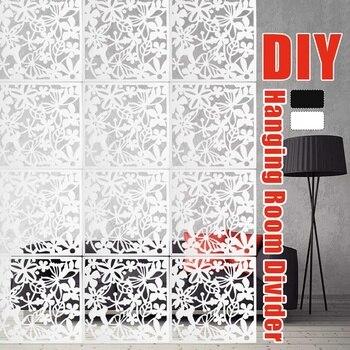 Pour la mode à la maison 12 pièces papillon oiseau fleur suspendus écran cloison diviseur panneau chambre rideau maison blanc/noir/rouge
