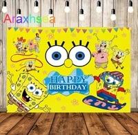 cute starfish baby cartoon backdrop boy birthday party decorated sponge yellow background photo studio photography scene