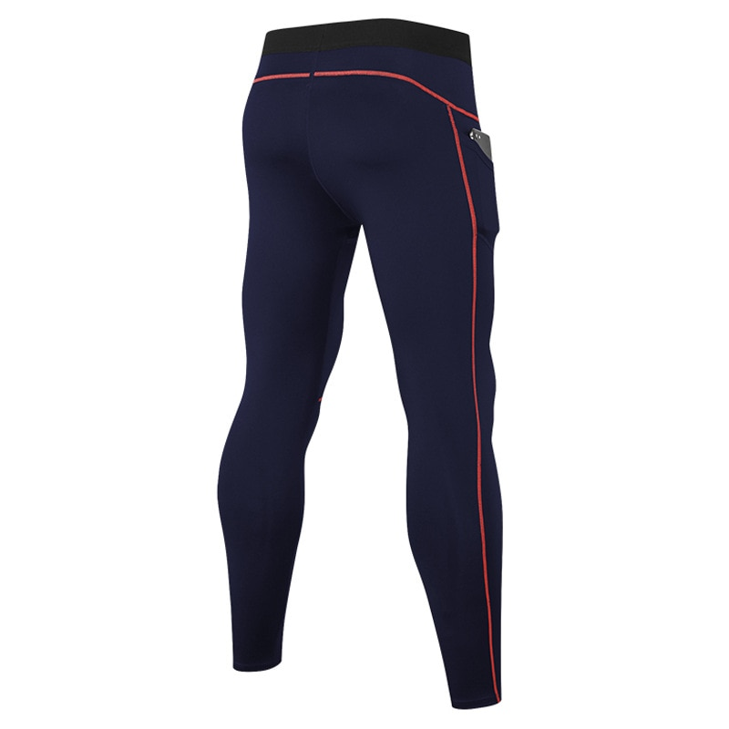 Men Sport Pant Qucikly Dry Sweatpants Elastic Legging Tights with Pocket Running Jogger Fitness Gym Workout Pant Activewear