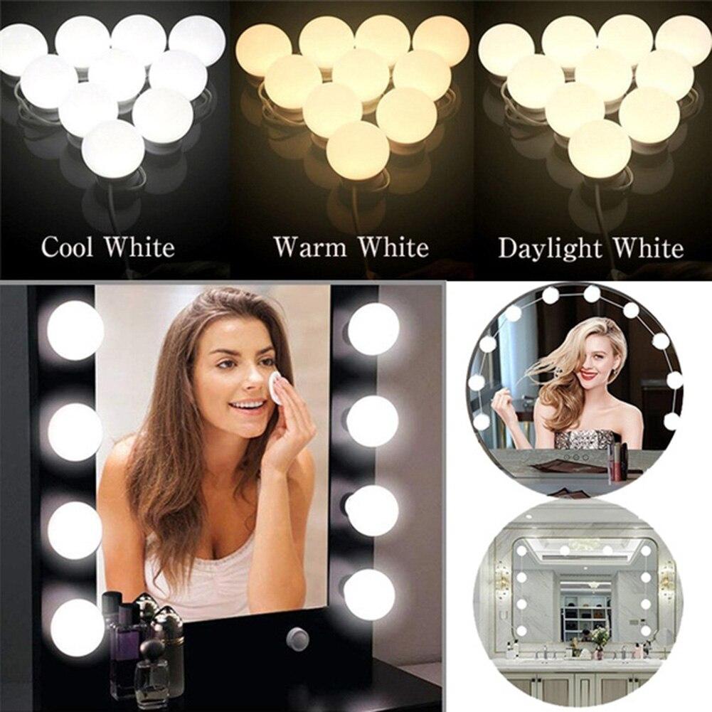 O diodo emissor de luz 12v do espelho da composição ilumina o jogo dimmable stepless da lâmpada de parede 2/6/10/12/14 dos bulbos para a tabela de vestir