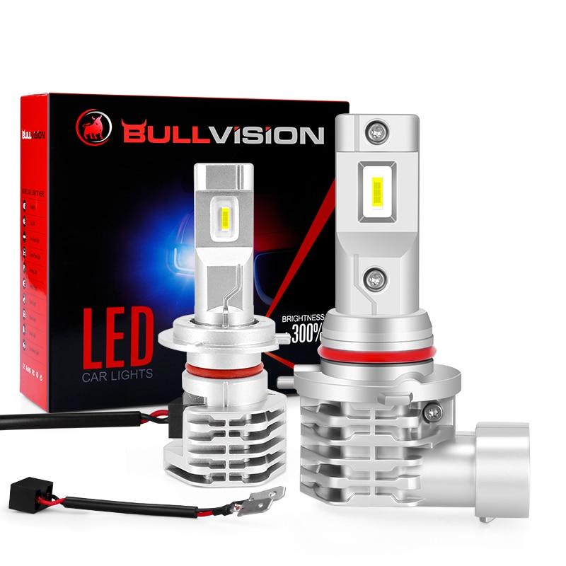 Bullvision H4 LED H7 H8 H9 HB2 HB3 H11 Fanless HB4 9005 9006 Farol Do Carro Bulbo Branco Brilhante Auto lâmpada kit 12V 14000LM 96W 6000K