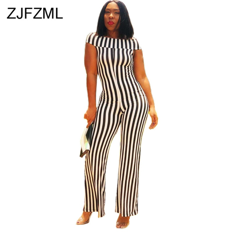 Black White Striped Rompers Womens Jumpsuit Fashion Short Sleeve High Waist Wide Leg Overall Casual Slash Neck Backless Overall plus button front striped wide leg cami jumpsuit