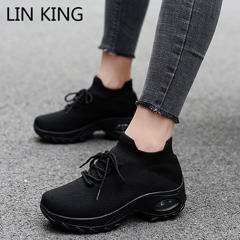 LIN KING Plus Size Women Casual Shoes Breathable Walking Mesh Wedges Shoes Fashion Lace Up Sneakers Gym Vulcanized Tenis Shoes lin king comfortable women casual shoes fashion breathable running walking swing shoes slip on ladies sneakers tenis feminino