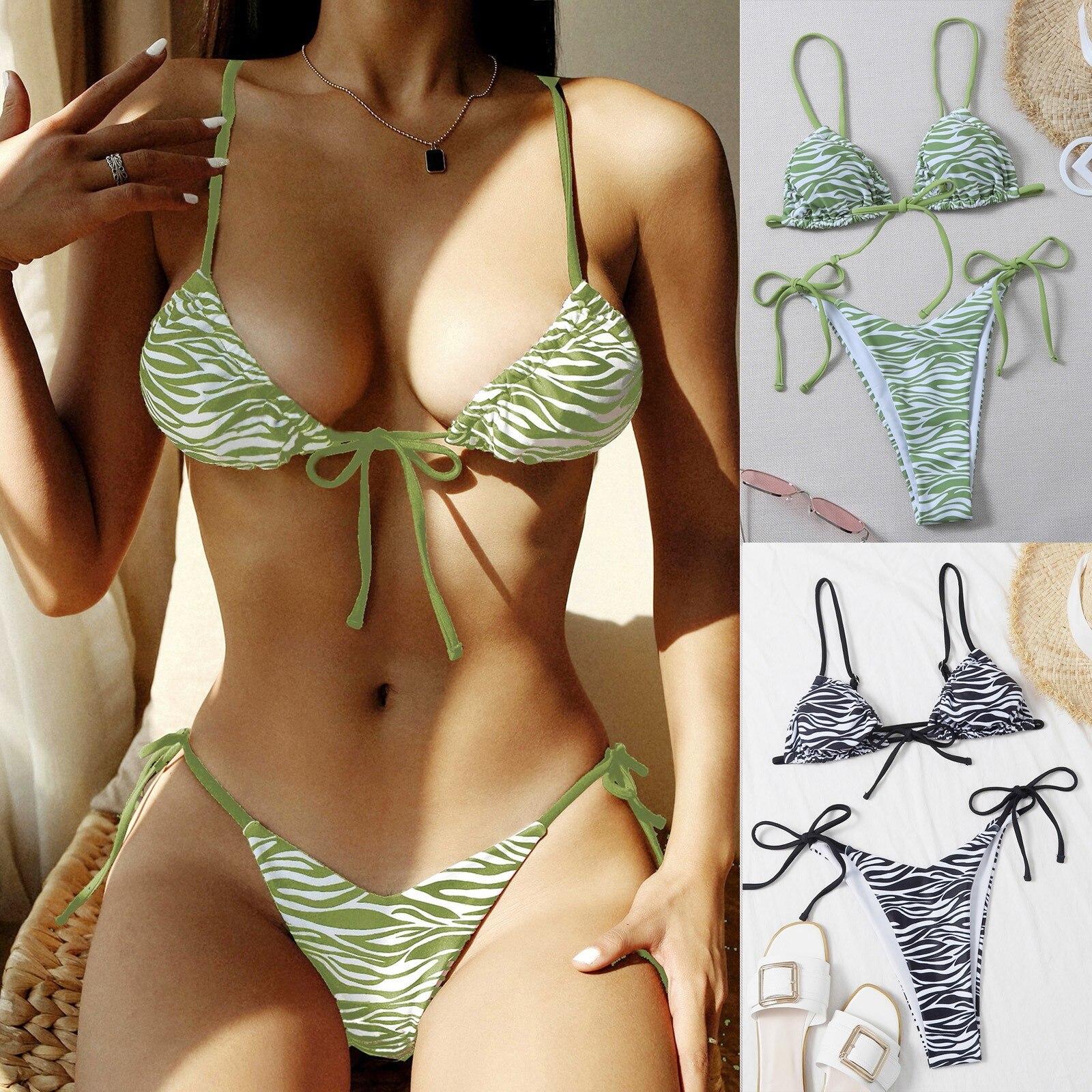 Fashion zebra print Women Fashion Print Sexy Backless Padded Bra Beach Bikini Set Swimsuit Beachwear crochet bikini Bow tie F4 burgundy sexy backless self tie bikini set