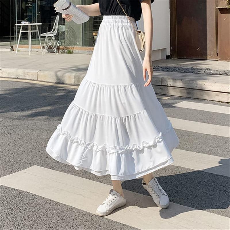 White chiffon ruffled bohemian pleated skirt summer stretch high waist Korean style long skirt female lace slimming fairy skirt