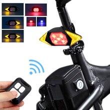 Bicicleta inteligente girando sinal ciclismo lanterna traseira inteligente usb recarregável luz traseira controle remoto led aviso lâmpada