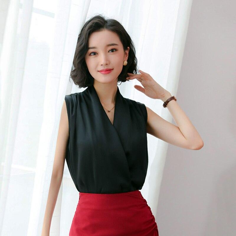 Blusas de oficina para mujer, Blusas Rot Tops, ropa para mujer, Color sólido, Blusas holgadas sin mangas, Blusas para mujer, camisas negras Ropa de Trabajo de verano para mujer