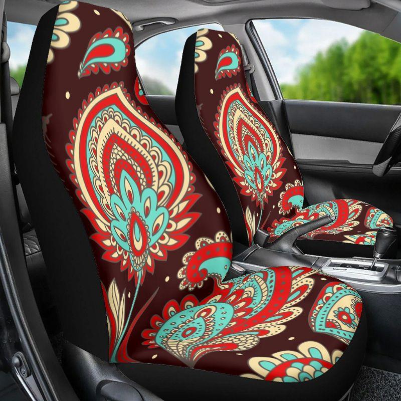 """Capa de assento do carro mandala flor impressão tampas de assento automóvel 2 peça universal caber branco onesize """"] u2ja"""