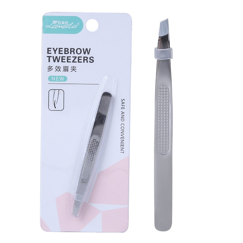 High Grade Fashion Eyebrow Tweezer Stainless Steel Tweezers Oblique Mouth Plain Top Two-A0169