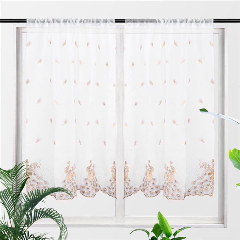 2 قطع قصيرة نافذة الستائر شير الستارة غرفة المعيشة ريشة المطرزة الفوال قضيب جيب الستار الستائر لغرفة الطعام