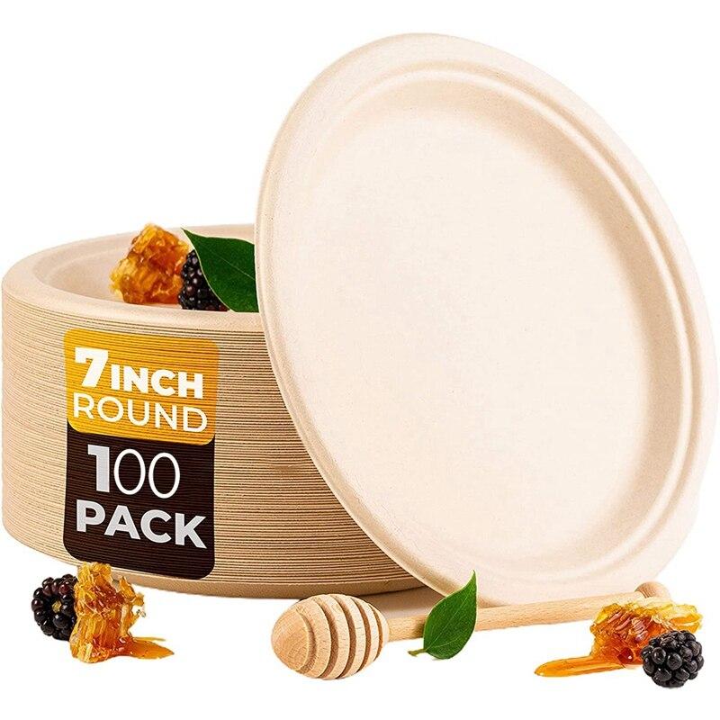 100 Pack 7in سماد وعاء للاستعمال الواحد من أطباق ورقية قصب السكر ، ألياف قصب السكر القابلة للتحلل