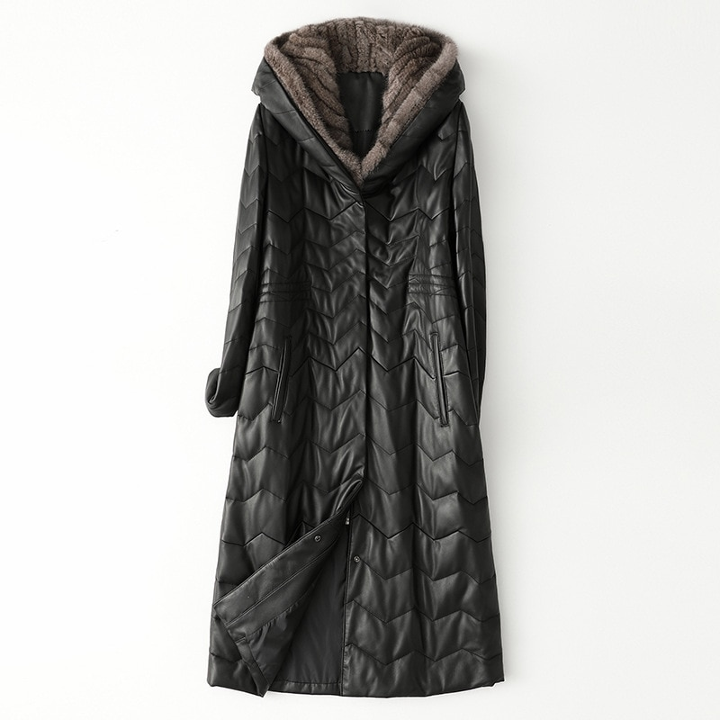 Leather Down Coat Women Winter Long Mink Hoodie Black Large Pockets Genuine Leather Jackets Plus Size Loose High Quality Outwear