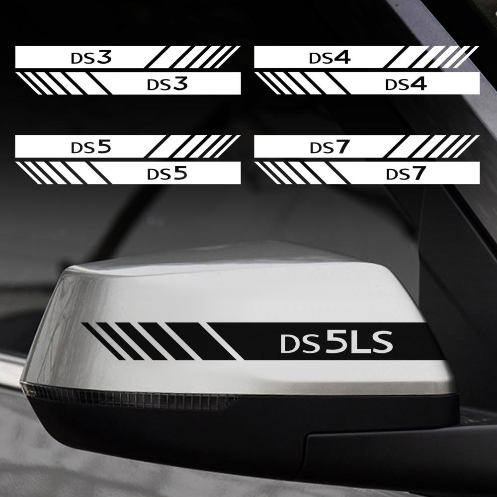 20*2cm 2 pçs carro rearviewr vista lateral listras adesivos de vinil para ds ds3 ds4 ds5 ds 5ls ds7 ds 3cabrio ds4s ds6 ds7 crossback