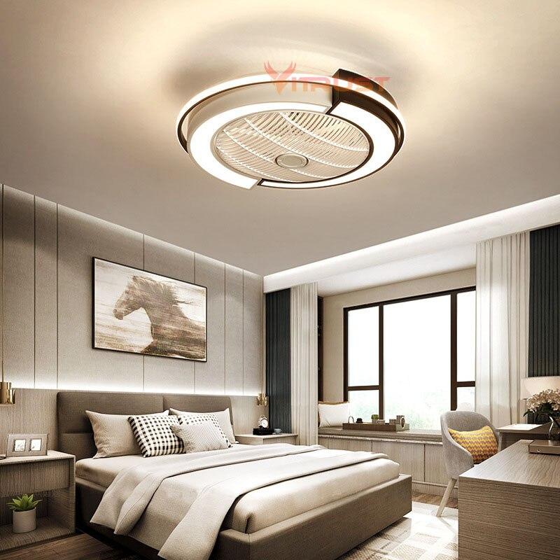 Moderno ventilador de teto luzes da sala jantar quarto sala estar lâmpadas ventilador controle remoto invisível lâmpada do teto ventilador iluminação pequena 110v 220