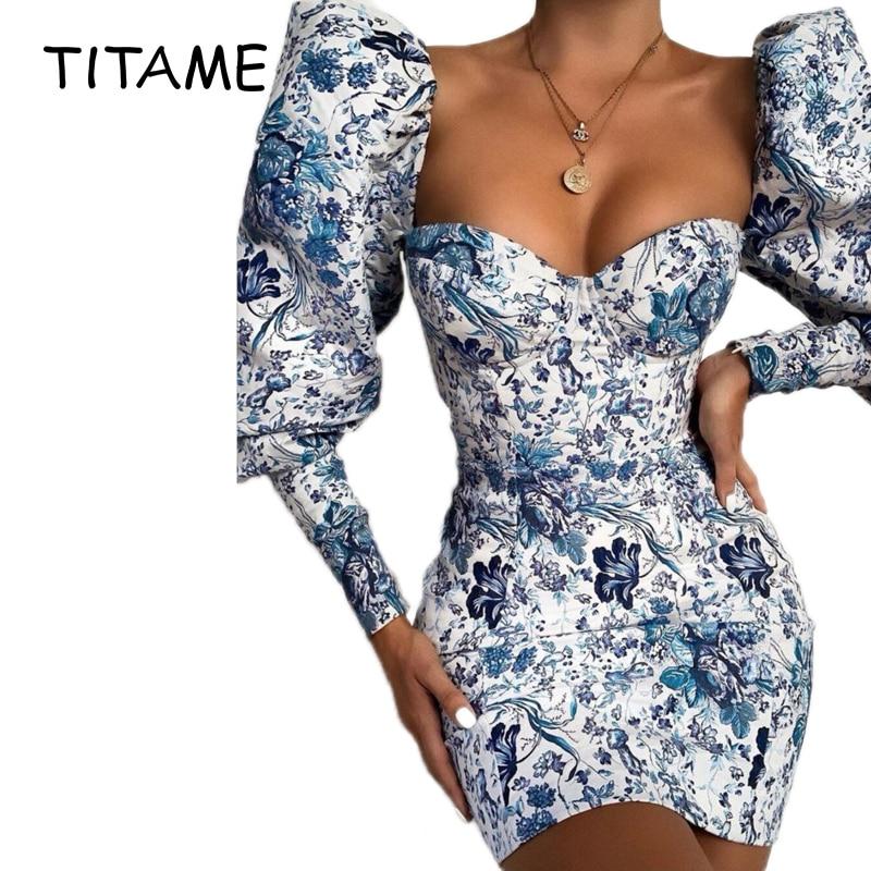 TITAME Mini vestido Sexy de mujer estampado de manga corta de burbuja Hubble vestido femenino vintage floral vestido de fiesta de auto-cultivo