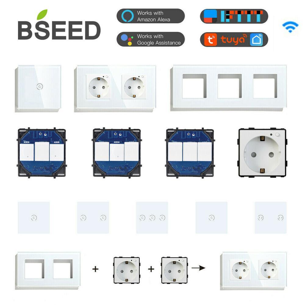 bseed wi fi interruptores de luz parede painel vidro pecas branco inteligente toque