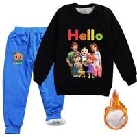 autumn winter newborn cocomelon clothes baby boys velvet fur sweatshirtspants 2pcs sets toddler girls outfits children homewear