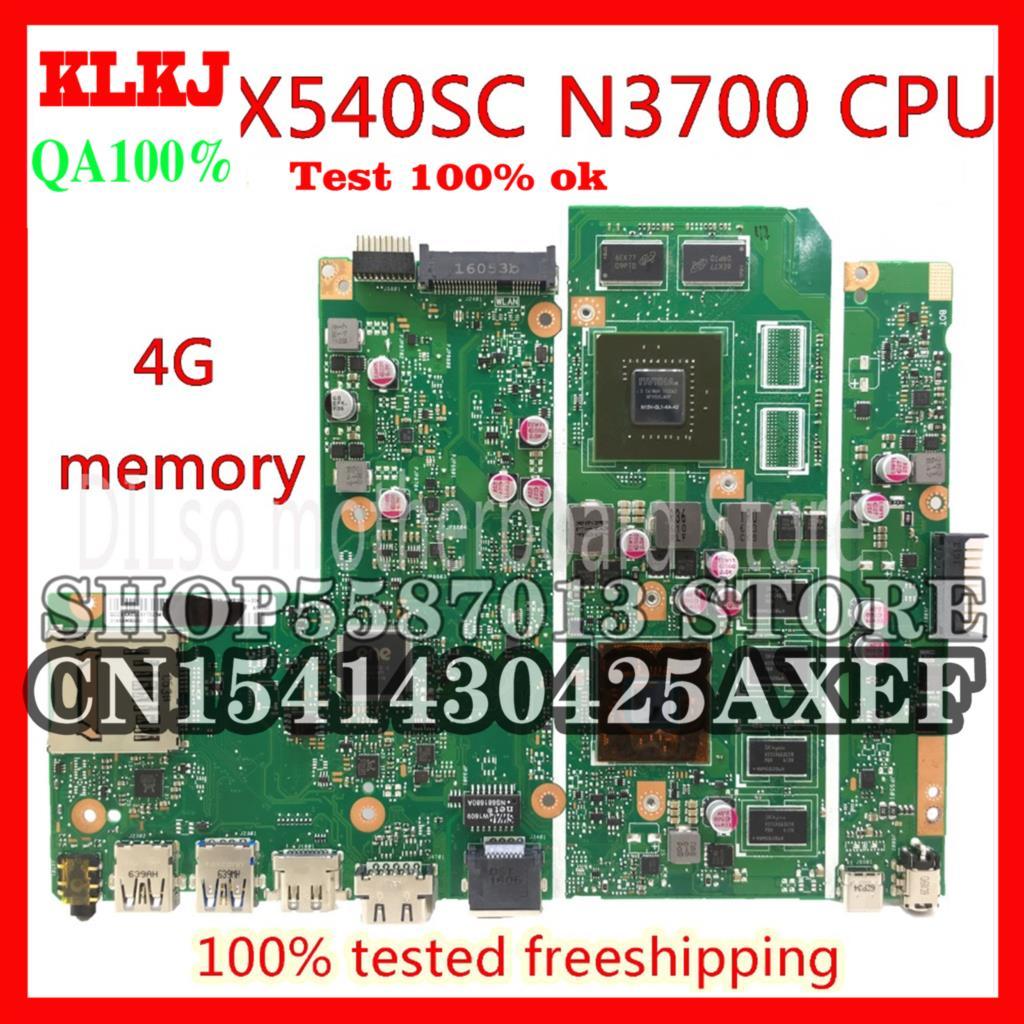 KLKJ X540SC اللوحة الرئيسية لأجهزة الكمبيوتر المحمول ASUS X540SC X540S اللوحة الأم N3700 CPU 4G N15V-GL1-KA-A2 الذاكرة بطاقة الرسومات اختبار الأصلي