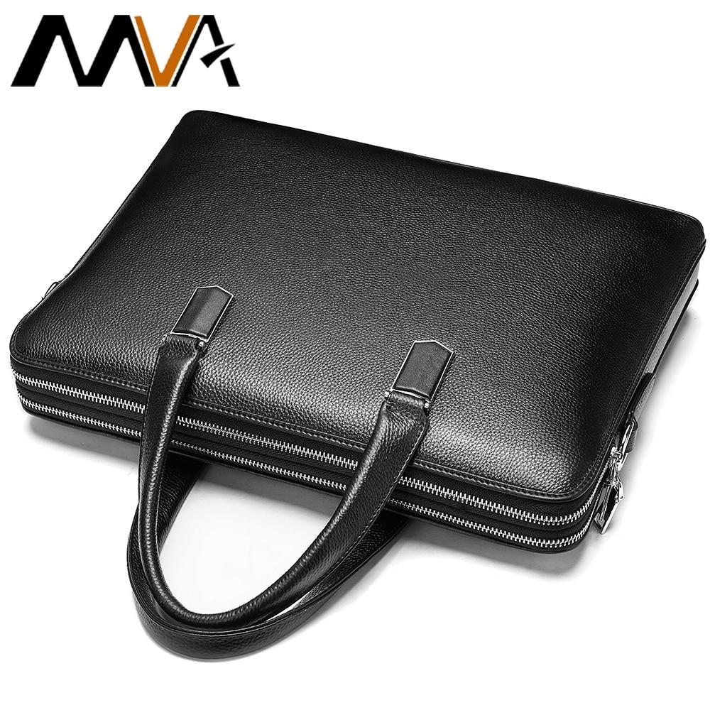 MVA Men's Business Briefcase Genuine Leather Laptop Bag For 13.3