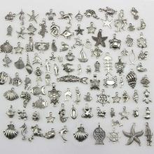 50 stücke Tibetischen Silber Mixed Seepferdchen Shell Starfish Schildkröte Ozean Thema Biologische Charms Anhänger DIY Perlen Schmuck Zubehör