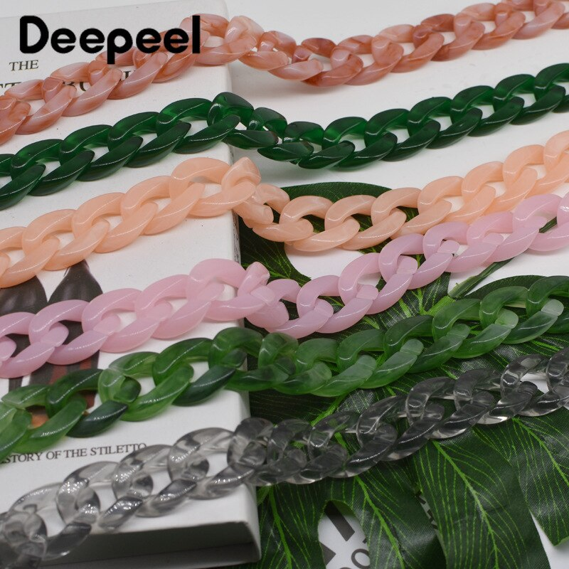 5pcs 60cm Fashion Acrylic Chain Bag Shoulder Strap Color Female Sewing Ring Decoration Handles Handbag Hardware Accessories