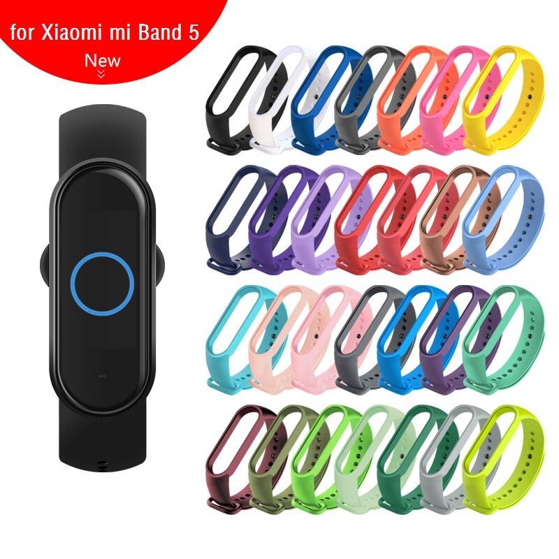 100 piezas para Xiaomi Mi Band 5 correa de muñeca pulsera inteligente pulsera de silicona correas accesorios de repuesto para Xiaomi band 5