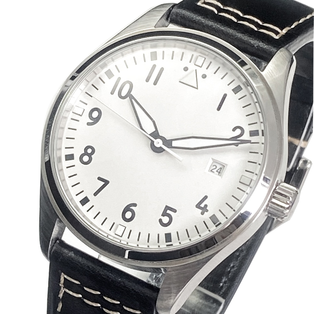 Simple leisure sports leather watch 40.5mm White Dial Black Digital Automatic men's watch night ligh