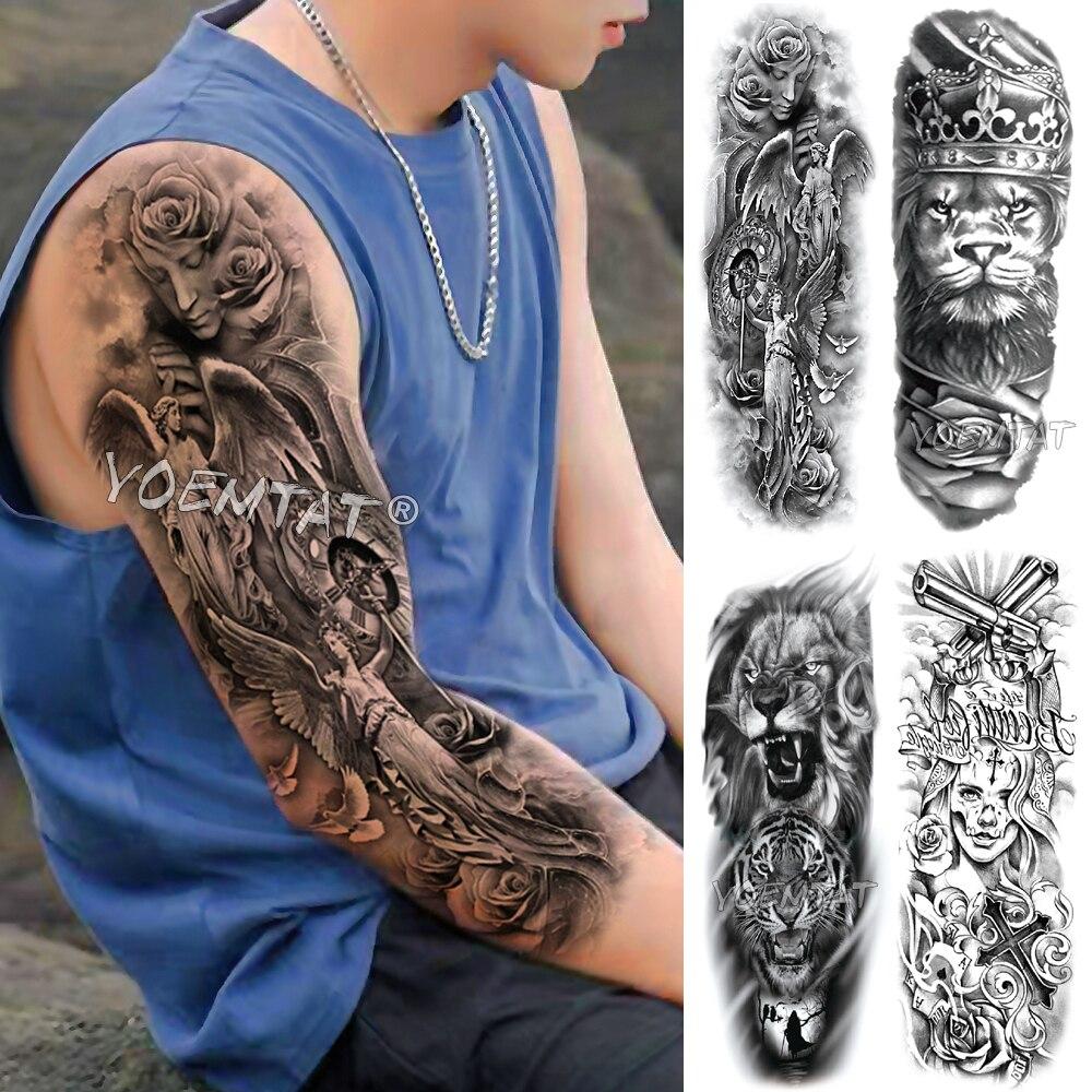 Large Arm Sleeve Tattoo King Crown lion Waterproof Temporary Fake Tatoo Sticker Skull Angel Clock Pigeon Men Women Full Tatto