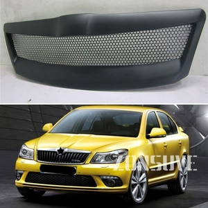 Use For Skoda Octavia 2010--2013 Year Carbon Fibre Refitt Front Center Racing Grille Cover Accessorie Body Kit Zonsuve