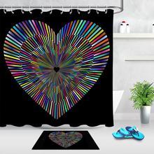 Valentine Neon Love Heart Modern Bathroom Decor Shower Curtain Bathroom Curtain Bath Accessory Sets with Hooks and Doormat
