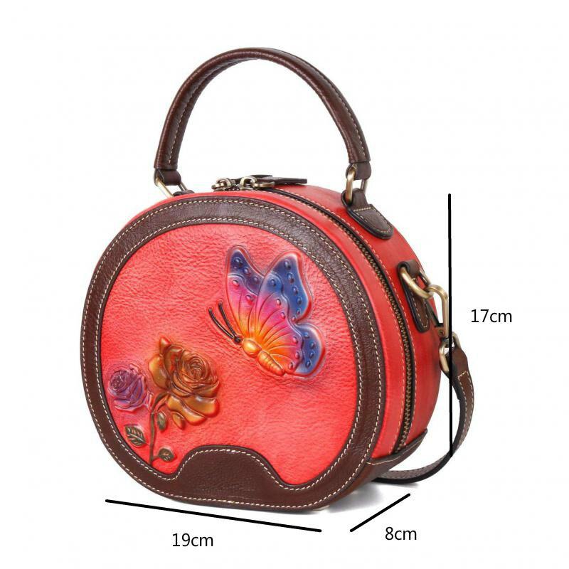High Quality Genuine Leather Women Shoulder&crossbody Bags 2020 New Vintage Handmade Embossing Circular Floral Designer Handbag