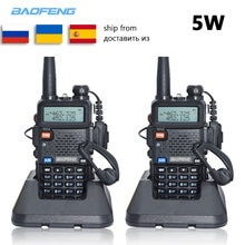 2pc Baofeng UV-5R talkie-walkie VHF UHF uv5r baofeng 5W Portable extérieur bidirectionnel Radio Station de Radio de russie Ukraine espagne