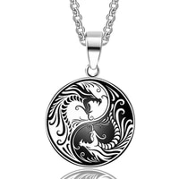silver color mens necklace yin yang double dragon pendant necklace classic chinese style jewelry