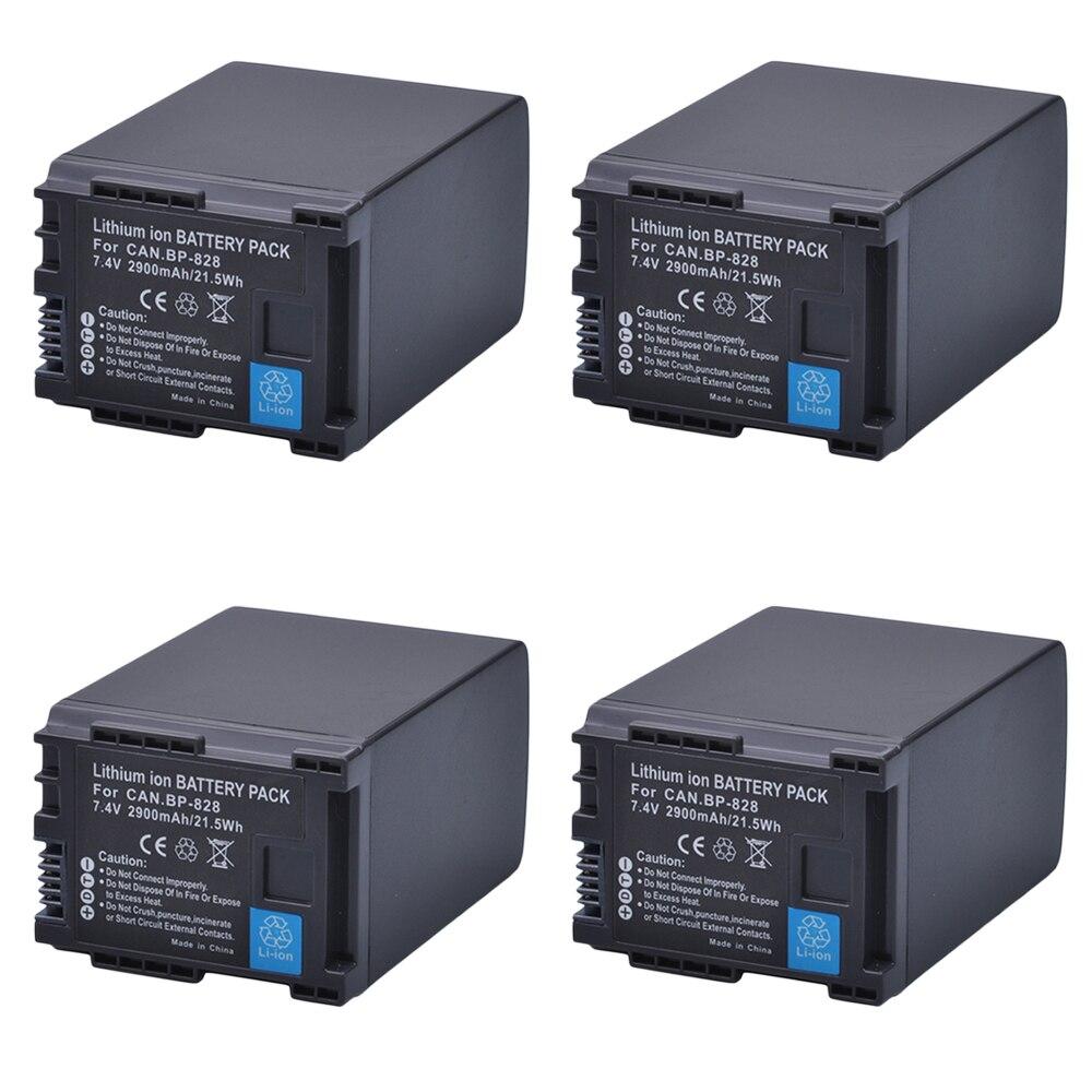 4 шт. 2900 мАч BP-828 BP 828 BP828 литий-ионный Аккумулятор для Canon HFM300 HFM30 HFG30 HFG10 HFM40 HFM400 HFS30 HG20 G30 G40 XA20 XA25
