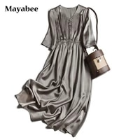 heavy 100 silk retro elegant dress with mid sleeve loose long skirt hedging spring 2021 new
