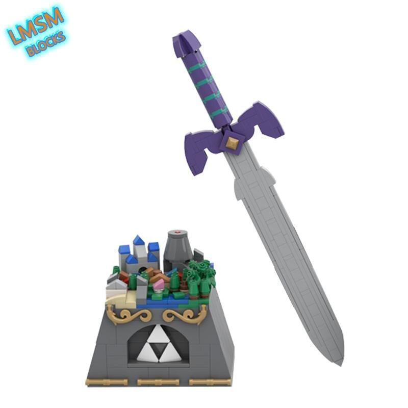 لعبة أساطير قلعة هيليج Zeldaed-مكعبات بناء لمشهد هايلار صغير سلاح السيف الرئيسي العسكري ألعاب منشئ طوب