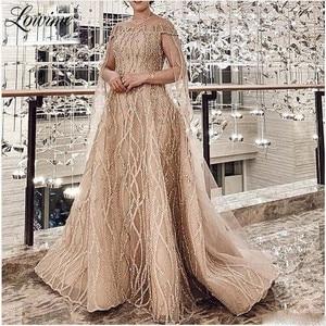 Champagne Glitter Muslim Evening Dress Saudi Arabia Long Middle East Prom Dresses 2020 Newest Dubai Party Gowns Robe De Soiree