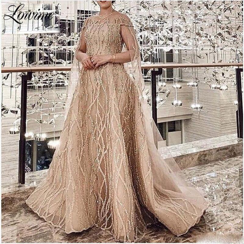 Champagne paillettes Robe De soirée musulmane arabie saoudite longue moyen-orient robes De bal 2020 plus récent dubaï robes De soirée Robe De soirée