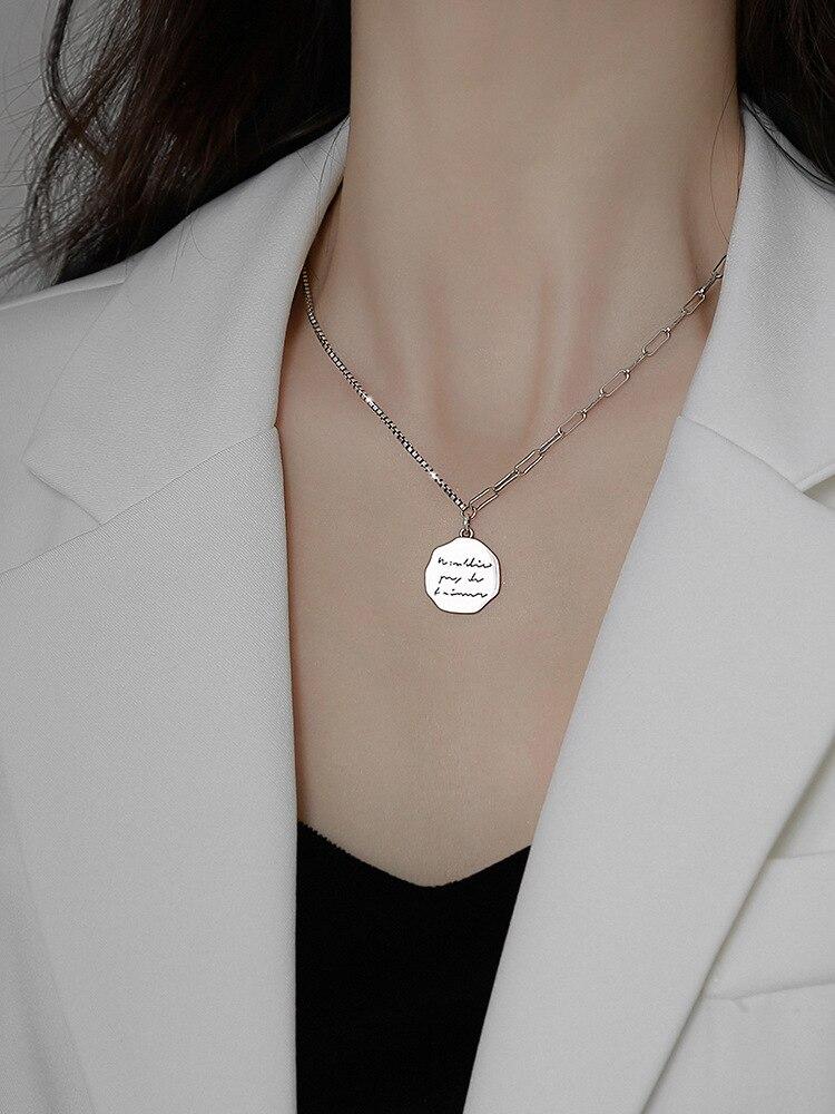 Высокое качество в стиле панк 925 пробы подвеска в виде серебряной монеты с текстом ключица цепочка для женщин ювелирные изделия